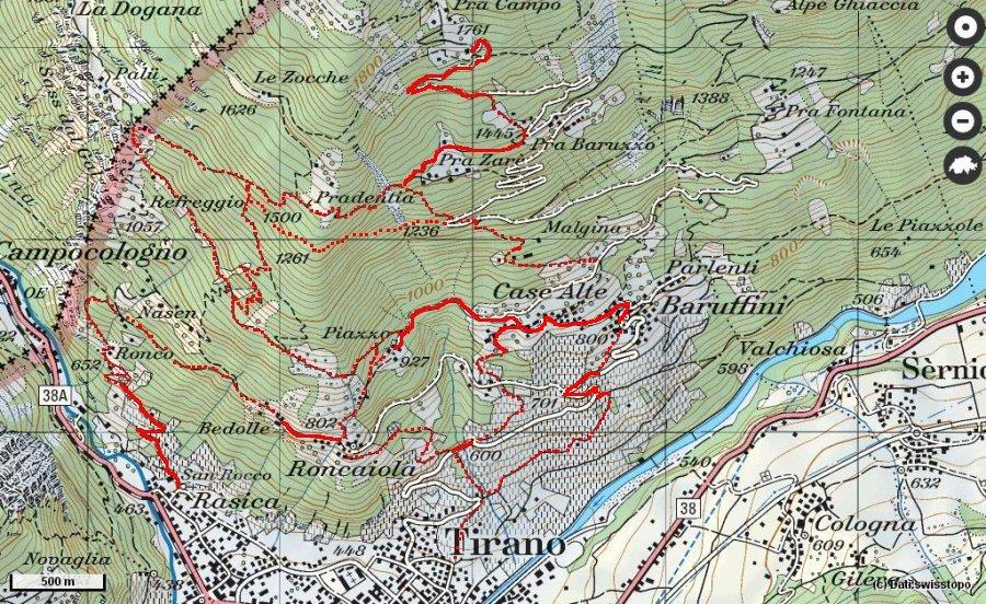 Cartina Geografica Livigno E Dintorni.Camminando Sopra Tirano
