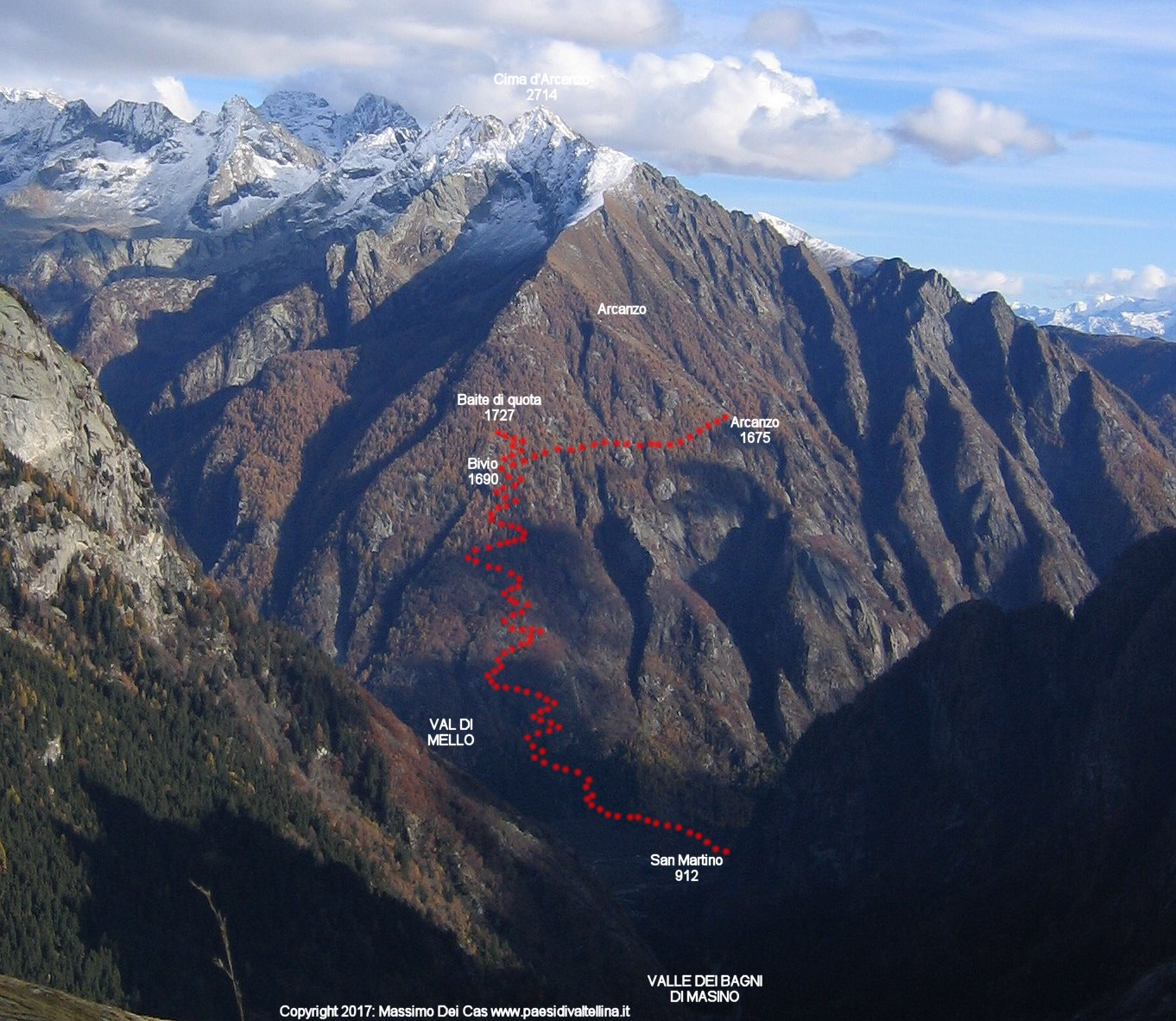 Verso Arcanzo, in Val Masino